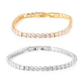 Set of 2 - AAA Simulated Diamond (Rnd) Tennis Bracelet (Size 7.5) in Silver and Gold Bond