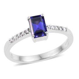 RHAPSODY 950 Platinum 1 Carat AAAA Tanzanite And Diamond (VS/E-F) Shoulder Set Ring