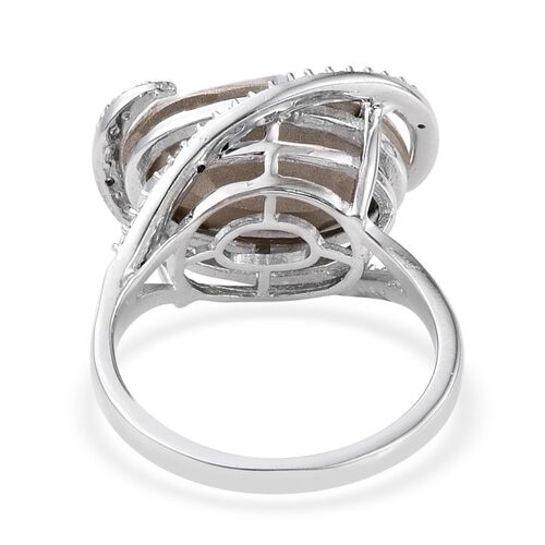 Crystal from Swarovski - White Crystal (Ovl), Diamond Ring  in ION Plated Platinum Bond