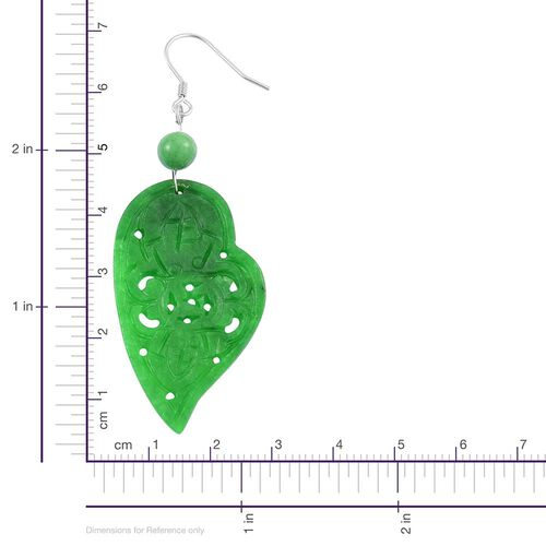 One Time Deal - Green Jade Wealth Symbol Heart Hook Earrings in Rhodium Plated Sterling Silver 39.000 Ct.