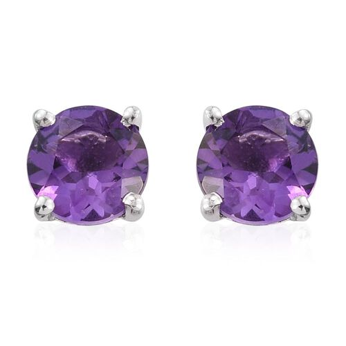 Set of 3 - Peridot, Garnet and Amethyst 3.30 Ct Silver Solitaire Stud Earrings in Platinum Overlay Sterling Silver