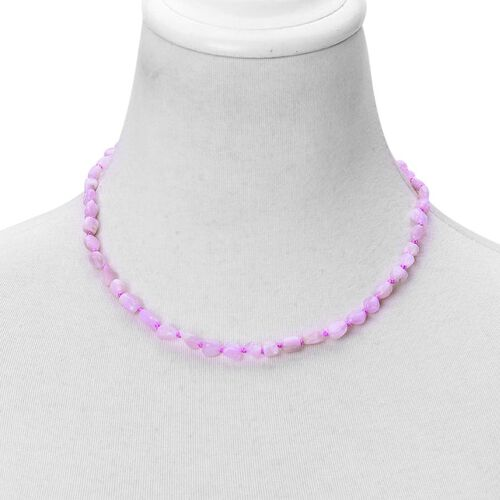 (Option 2) Rare Kunzite Necklace (Size 18 with 2 inch Extender) in Rhodium Plated Sterling Silver 105.000 Ct.