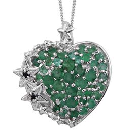 GP Kagem Zambian Emerald (Rnd), Boi Ploi Black Spinel and Kanchanaburi Blue Sapphire Heart Pendant With Chain in Platinum Overlay Sterling Silver.