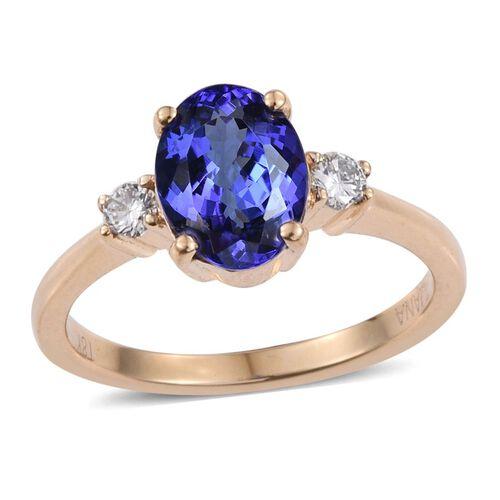 ILIANA 18K Yellow Gold 2.15 Carat AAA Tanzanite Oval, Diamond SI G-H Ring.