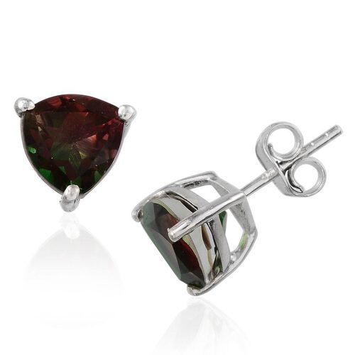 Tourmaline Colour Quartz (Trl) Stud Earrings (with Push Back) in Platinum Overlay Sterling Silver 4.000 Ct.