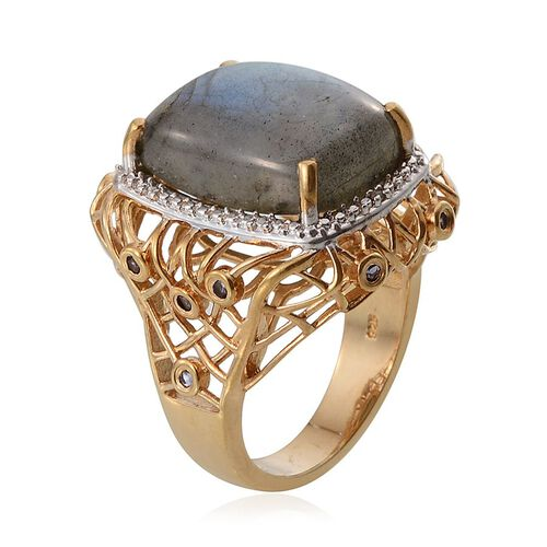 Labradorite (Cush 13.25 Ct), Iolite and Diamond Ring in 14K Gold Overlay Sterling Silver 13.510 Ct.