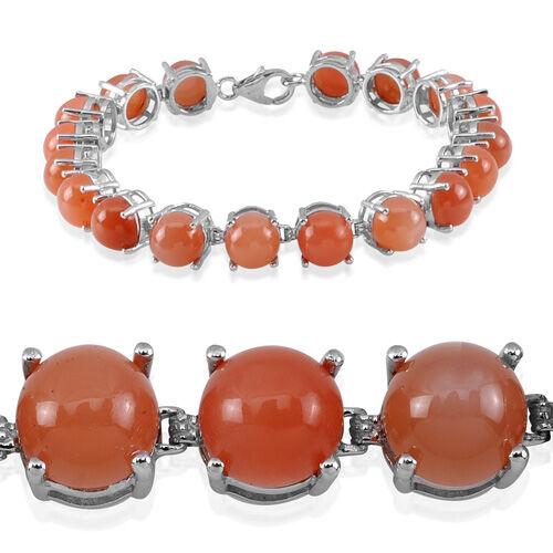 Mitiyagoda Peach Moonstone (Rnd) Bracelet in Platinum Overlay Sterling Silver (Size 7.5) 33.000 Ct.