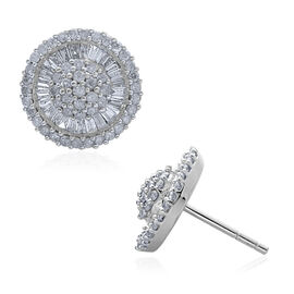 9K White Gold 1 Carat Diamond Cluster Disc Stud Earrings SGL Certified I3 G-H.