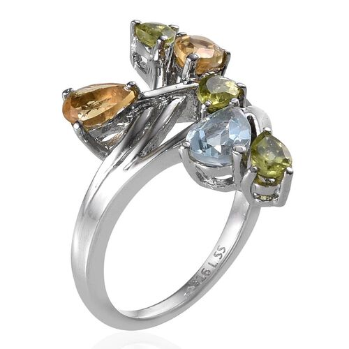 Sky Blue Topaz (Pear 0.75 Ct), Hebei Peridot and Citrine Ring in ION Plated Stainless Steel 2.250 Ct.