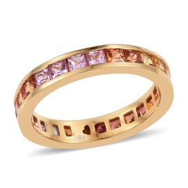 Multi Sapphire (Sqr) Full Eternity Band Ring in 14K Gold Overlay Sterling Silver 2.750 Ct.