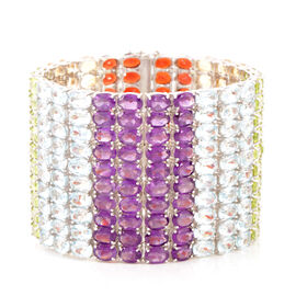 AAA Hebei Peridot (Ovl), Sky Blue Topaz, Citrine, Garnet and Amethyst Rainbow Multi Row Bracelet in Rhodium Plated Sterling Silver (Size 7.5) 225.000 Ct.