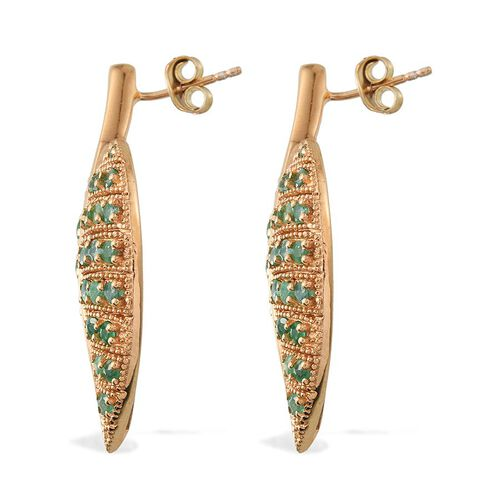 Kagem Zambian Emerald (Rnd) Leaf Earrings (with Push Back) in 14K Gold Overlay Sterling Silver 3.000 Ct.