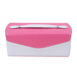 Pink and White Colour Jewellery Box with Mirror Inside (Size 22x11x8 Cm)