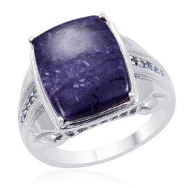Designer Collection Utah Tiffany Stone (Cush 14.25 Ct), Kanchanaburi Blue Sapphire Ring in Platinum Overlay Sterling Silver 14.450 Ct.