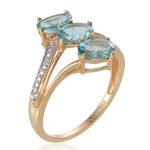 Paraiba Apatite (Ovl 2.50 Ct), Diamond Ring in 14K Gold Overlay Sterling Silver 2.510 Ct.
