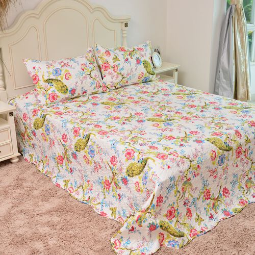 Limited Edition - Peacock and Floral Pattern White and Multi Colour Reversible Quilt (Size 260X240 Cm) and 2 Pillow Shams (Size 70X50X5 Cm)