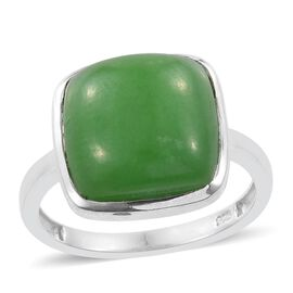Green Jade (Cush) Solitaire Ring in Platinum Overlay Sterling Silver 9.750 Ct.