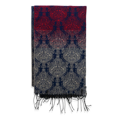Blue, Red and Multi Colour Damask Pattern Scarf (Size 180x65 Cm)