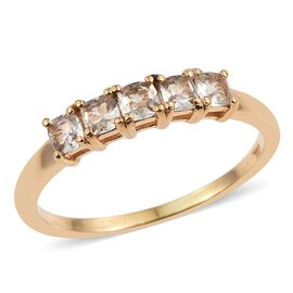 Natural Turkizite (Cush) 5 Stone Ring in 14K Gold Overlay Sterling Silver 0.750 Ct.
