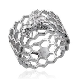 Platinum Overlay Sterling Silver Honey Comb with Bee Band Ring, Silver wt 5.00 Gms.