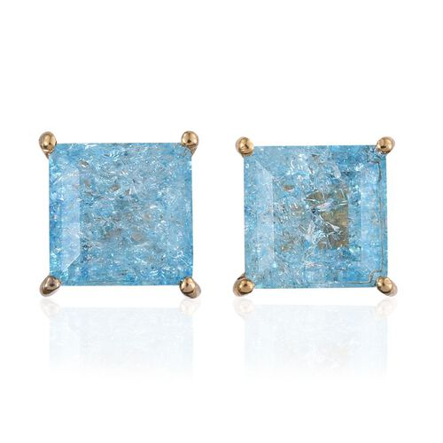 Paraiba Blue Crackled Quartz (Sqr) Stud Earrings (with Push Back) in 14K Gold Overlay Sterling Silver 4.750 Ct.