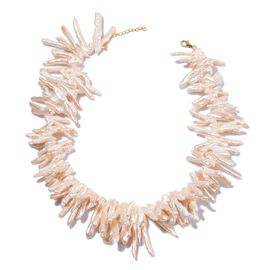 9K Y Gold AAA White Keshi Pearl Necklace (Size 18)