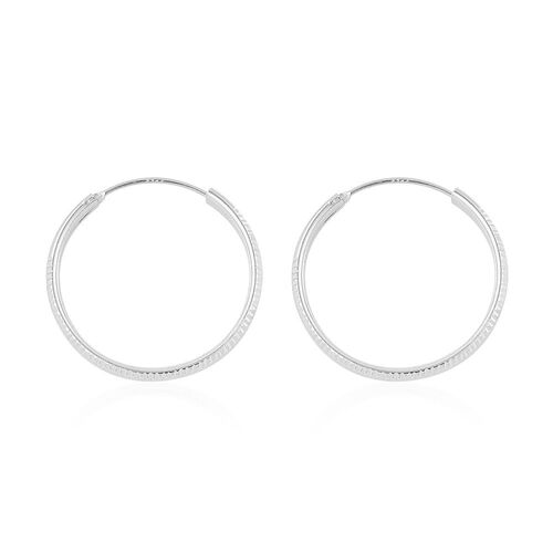 Rhodium Plated Sterling Silver Hoop Earrings (with Clasp), Silver wt. 3.00 Gms.