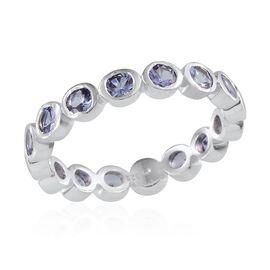Tanzanite (Rnd) Full Eternity Ring in Platinum Overlay Sterling Silver 1.500 Ct.