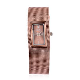STRADA Japanese Movement Sunshine Pattern Dial Water Resistant Watch in Rose Gold Tone with Stainless Steel Back