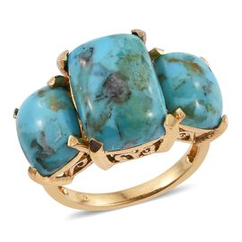Arizona Matrix Turquoise (Cush 4.75 Ct) 3 Stone Ring in 14K Gold Overlay Sterling Silver 9.000 Ct.