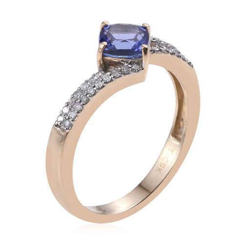GP 9K Y Gold AA Tanzanite (Cush 1.25 Ct), Kanchanaburi Blue Sapphire and Diamond Ring 1.500 Ct.