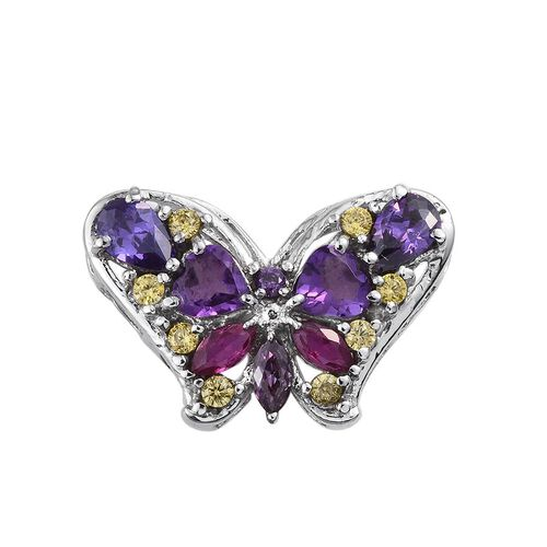 Amethyst (Hrt), Simulated Tanzanite, Simulated Amethyst, Simulated Ruby and Simulated Citrine Butterfly Pendant in ION Plated Stainless Steel 3.000 Ct.