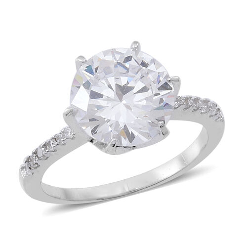 ELANZA AAA Simulated White Diamond (Rnd) Ring in Rhodium Plated Sterling Sterling Silver