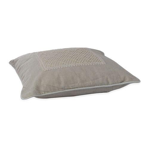 (Option 3) Beige Colour Net Patch Work Cushion (Size 43x43 Cm)