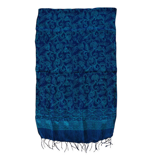Dark Blue Colour Batik Print 100% Silk Scarf (Size 150x45 Cm)