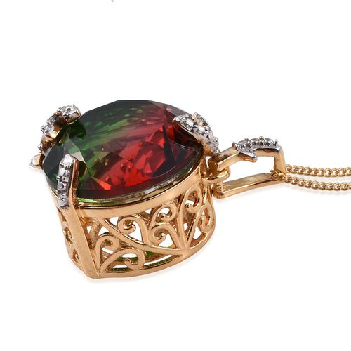 Bi-Color Tourmaline Quartz (Rnd), Diamond Pendant With Chain in 14K Gold Overlay Sterling Silver 10.510 Ct.