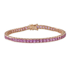 One Off 9K Y Gold Pink Sapphire (Sqr) Tennis Bracelet (Size 7.5) 12.000 Ct.