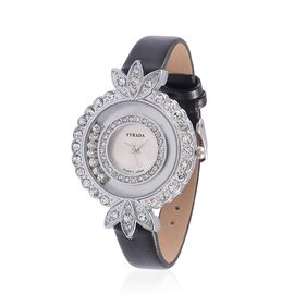 STRADA Floating Austrian Crystal Floral Design Watch - Black