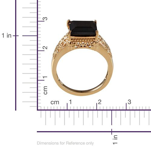 Boi Ploi Black Spinel (Sqr) Solitaire Ring in 14K Gold Overlay Sterling Silver 6.250 Ct.