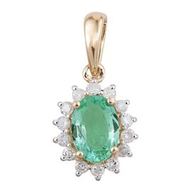 Colombian Emerald (0.75 Ct) and Diamond 9K Y Gold Pendant  1.000  Ct.