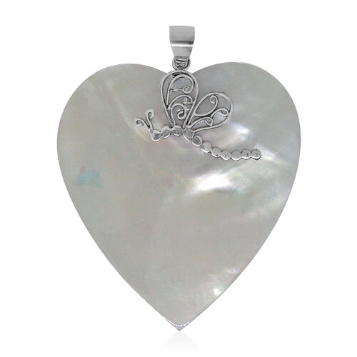 Royal Bali Collection Mother of Pearl Heart Pendant in Sterling Silver