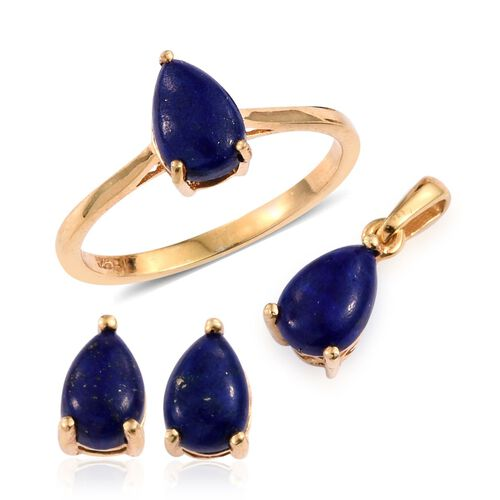 Lapis Lazuli (Pear) Solitaire Ring, Pendant and Stud Earrings (with Push Back) in 14K Gold Overlay Sterling Silver 6.000 Ct.