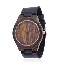 100% Natural Hand-Crafted - EON 1962 Japanese Movement Wood Dial with Black Leather Strap Watch