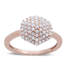 Limited Edition 9K R Gold Natural Pink Diamond (Rnd) Cluster Ring 0.500 Ct.