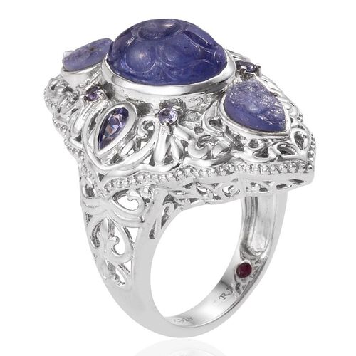 Royal Jaipur Tanzanite (Ovl 7.75 Ct), Burmese Ruby Ring in Platinum Overlay Sterling Silver 11.000 Ct.