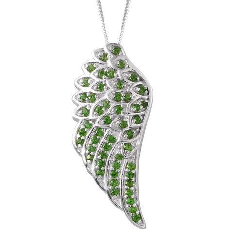 Russian Diopside (Rnd) Angel Wing Pendant with Chain (Size 18) in Platinum Overlay Sterling Silver