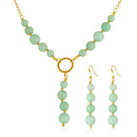 Turquoise Colour Quartzite (Rnd) Necklace (Size 18 with 2 inch Extender) and Hook Earrings in Yellow Gold Bond 230.000 Ct.