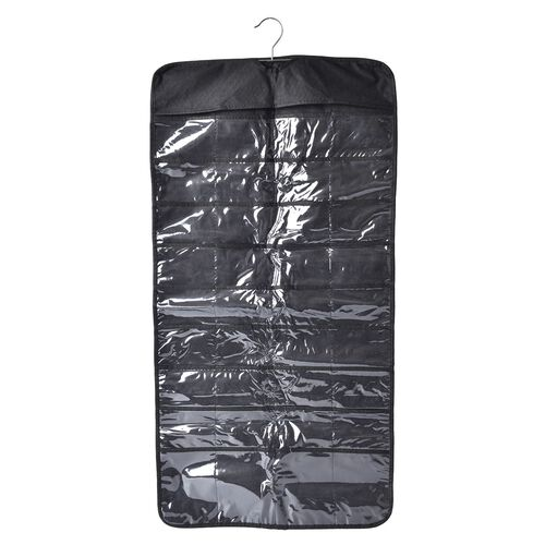 Set of 2 - Black Colour Double Sided Hanging Jewellery Organizer (Size 85x23 Cm)
