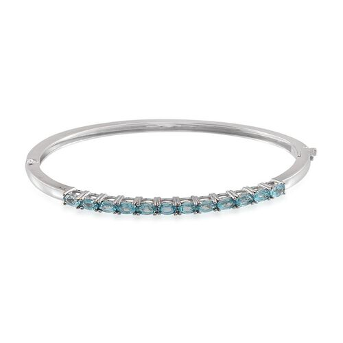 Paraibe Apatite (Ovl) Bangle (Size 7.5) in ION Plated Platinum Bond 2.750 Ct.