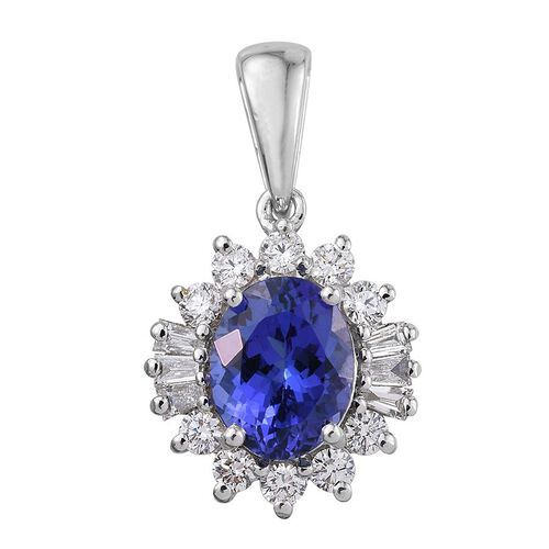 ILIANA 18K White Gold 2.50 Carat AAA Tanzanite Oval Halo Pendant, Diamond SI G-H.